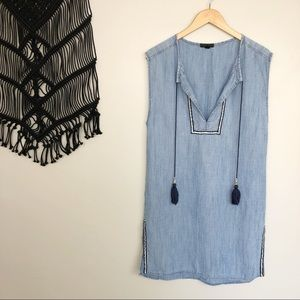 J. Crew Sleeveless Chambray Tassel Beach Tunic